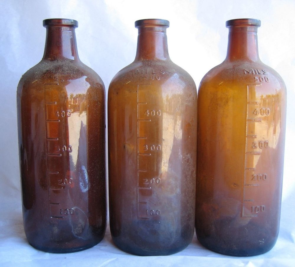 Set 3 Mils Brown Glass Bottles 1845 500ml Amber Vintage