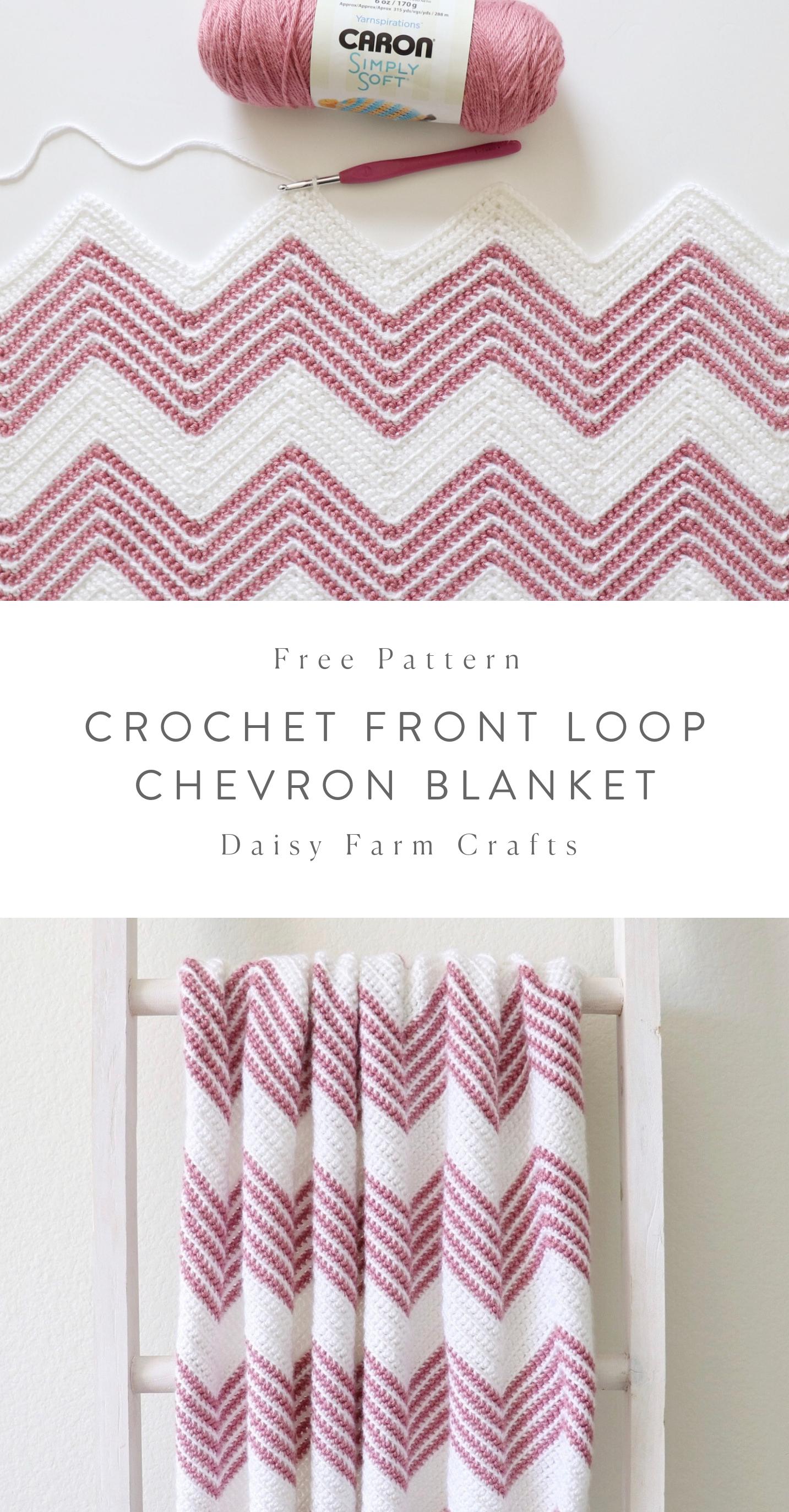 Free Pattern - Crochet Front Loop Chevron Blanket