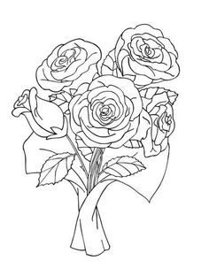 Bunch Of Rose Bouquet Coloring Pages Mothers Day Coloring Pages Rose Coloring Pages Valentine Coloring Pages