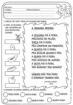 Atividade Pronta Texto Rima Dias Da Semana Atividades