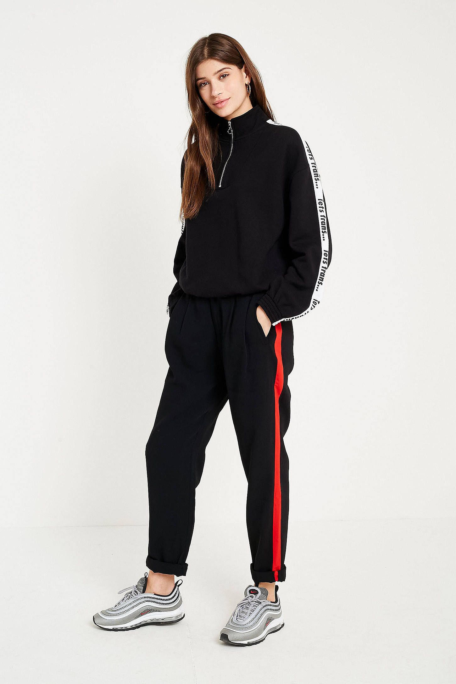 50fd251bbe082 Shop Light Before Dark Red Side Stripe Pleat Front Cocoon Trousers at Urban  Outfitters today. We carry all the latest styles