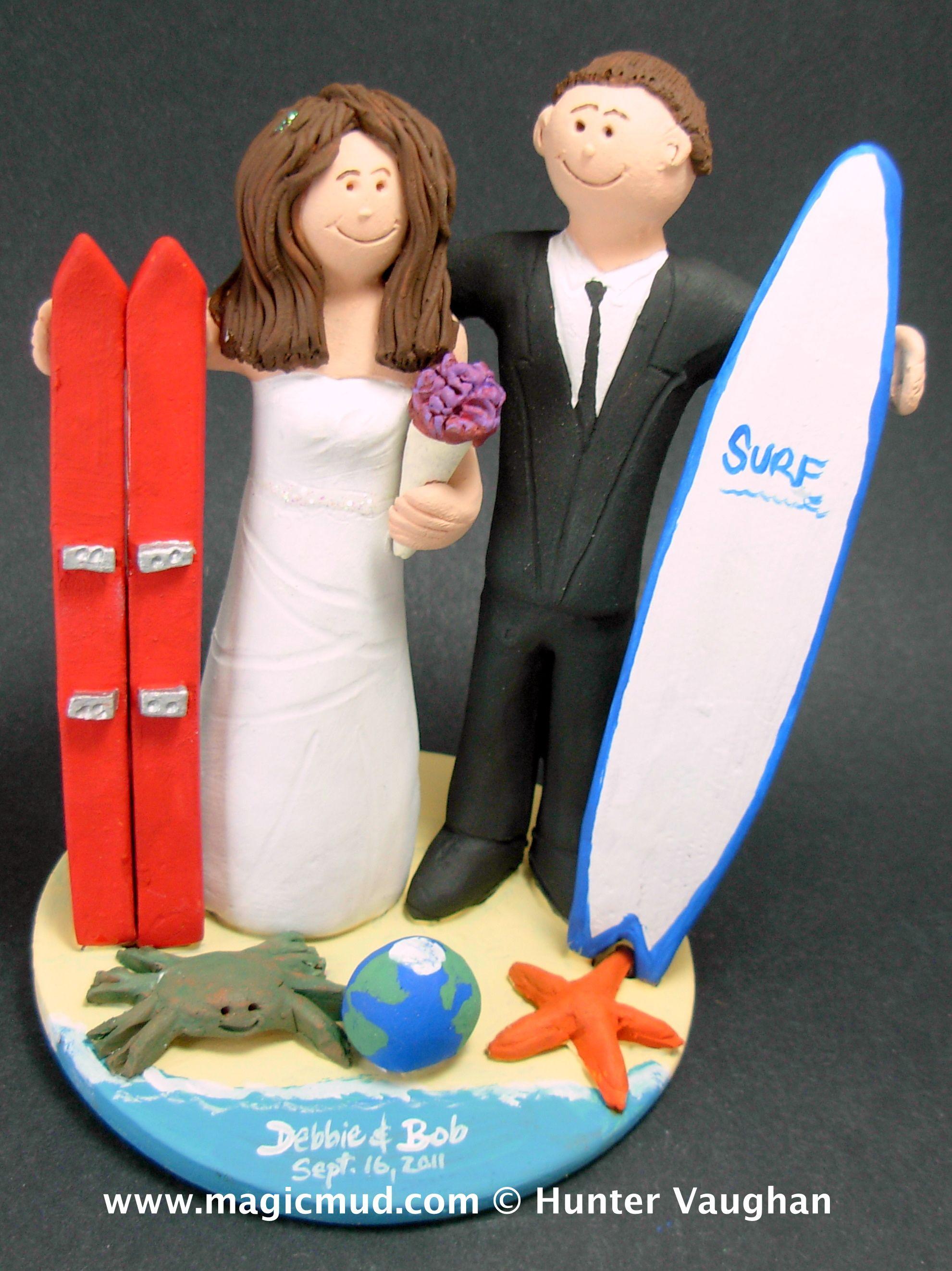 Surfer marries skiier wedding cake topper gicmud