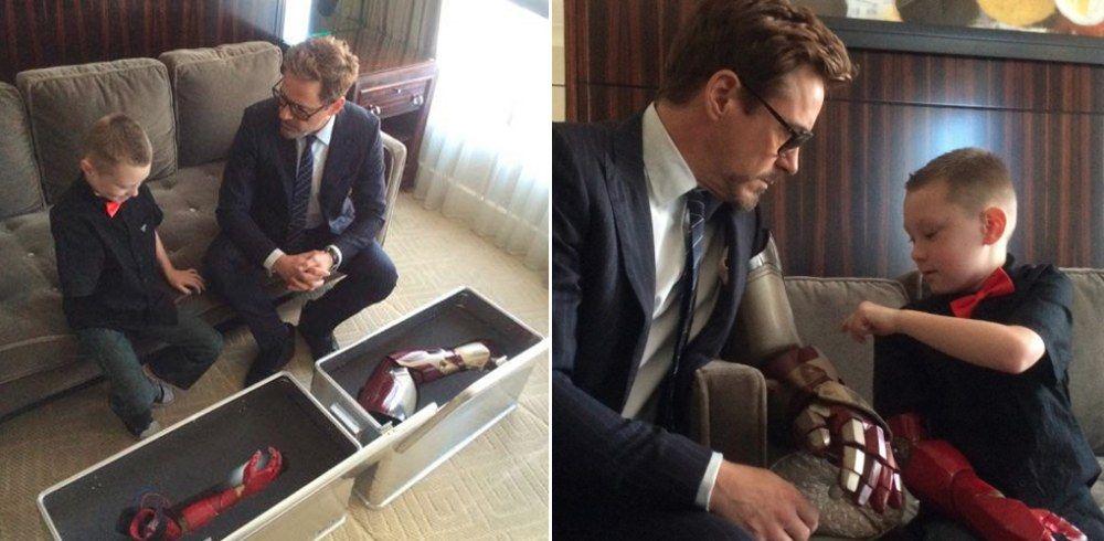 Robert Downey Jr. regala una protesi speciale a un bimbo disabile!