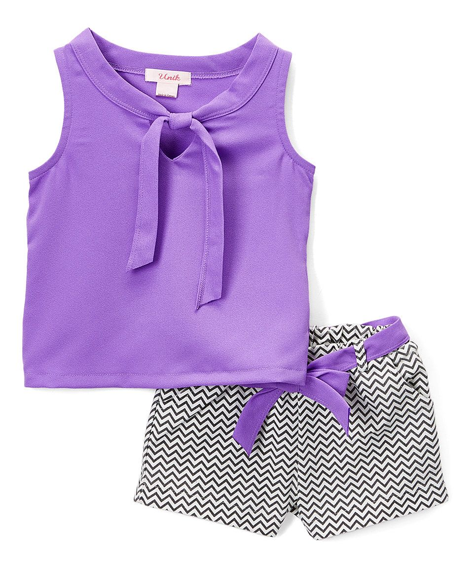 Take a look at this Purple Tie-Neck Top & Chevron Shorts - Toddler & Girls today!