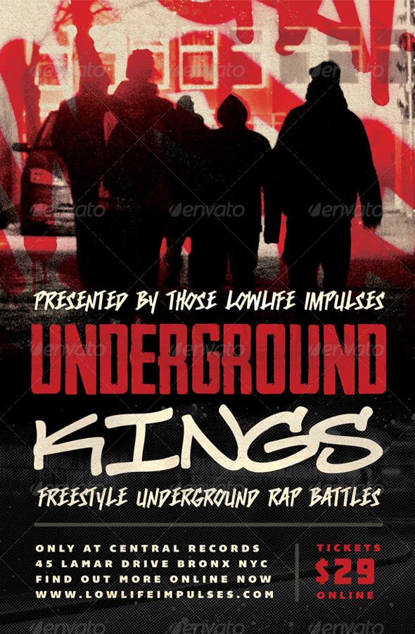 Underground Kings Hip Hop Flyer Template By Furnace Underground