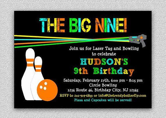 Laser Tag Bowling Invitation Laser Tag Birthday Party Invitation