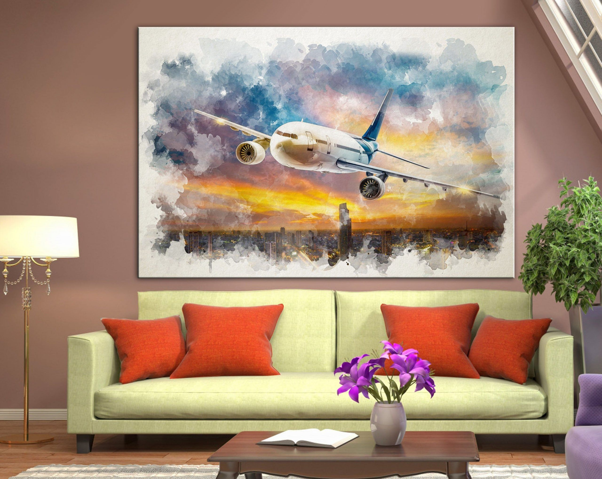Watercolor Aircraft Canvas Airplane Night Town Art Airplane Wall Art Aviation Print Plane Over The City Canva Airplane Wall Art Cities Canvas Airplane Wall
