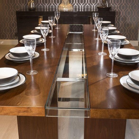 Quatropi Luxury Large 12 Seater 240cm Luxury Dining Table Walnut Glass Dining Tables Dining Room Luxury Dining Table Luxury Dining Rectangular Dining Table