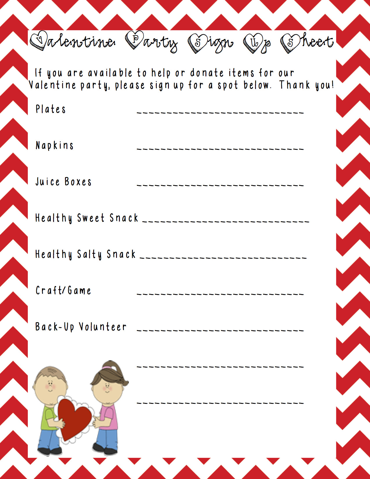 A sample class party sign up sheet that I made