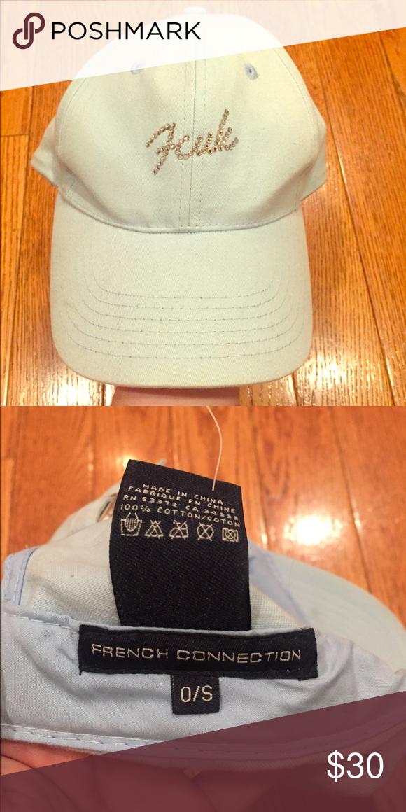 238af83928ad5 FCUK gem baseball hat 2000 era light blue