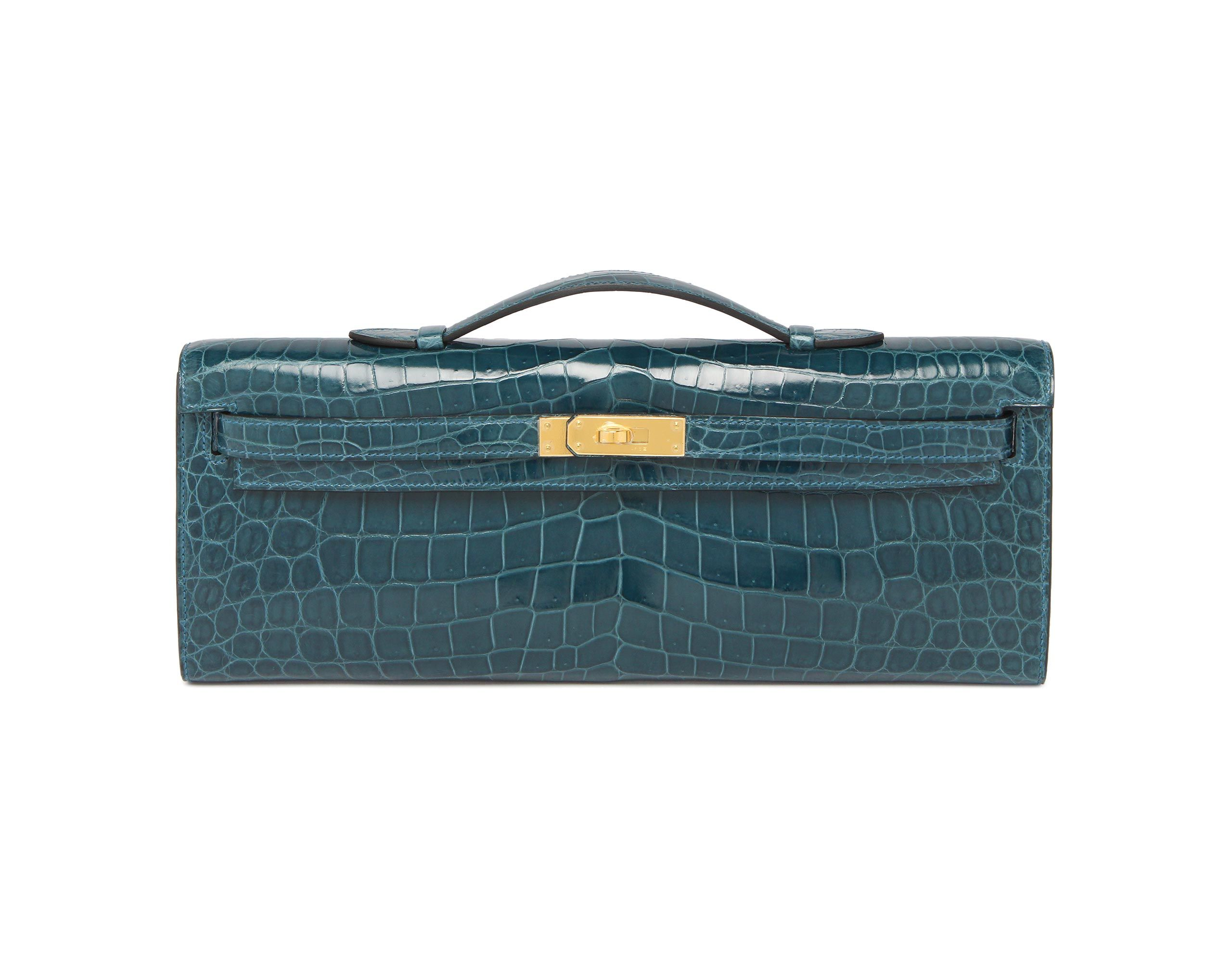 3b8b048fdcee Hermes Kelly Cut Blue Colvert Shiny Nilo Croc with Gold