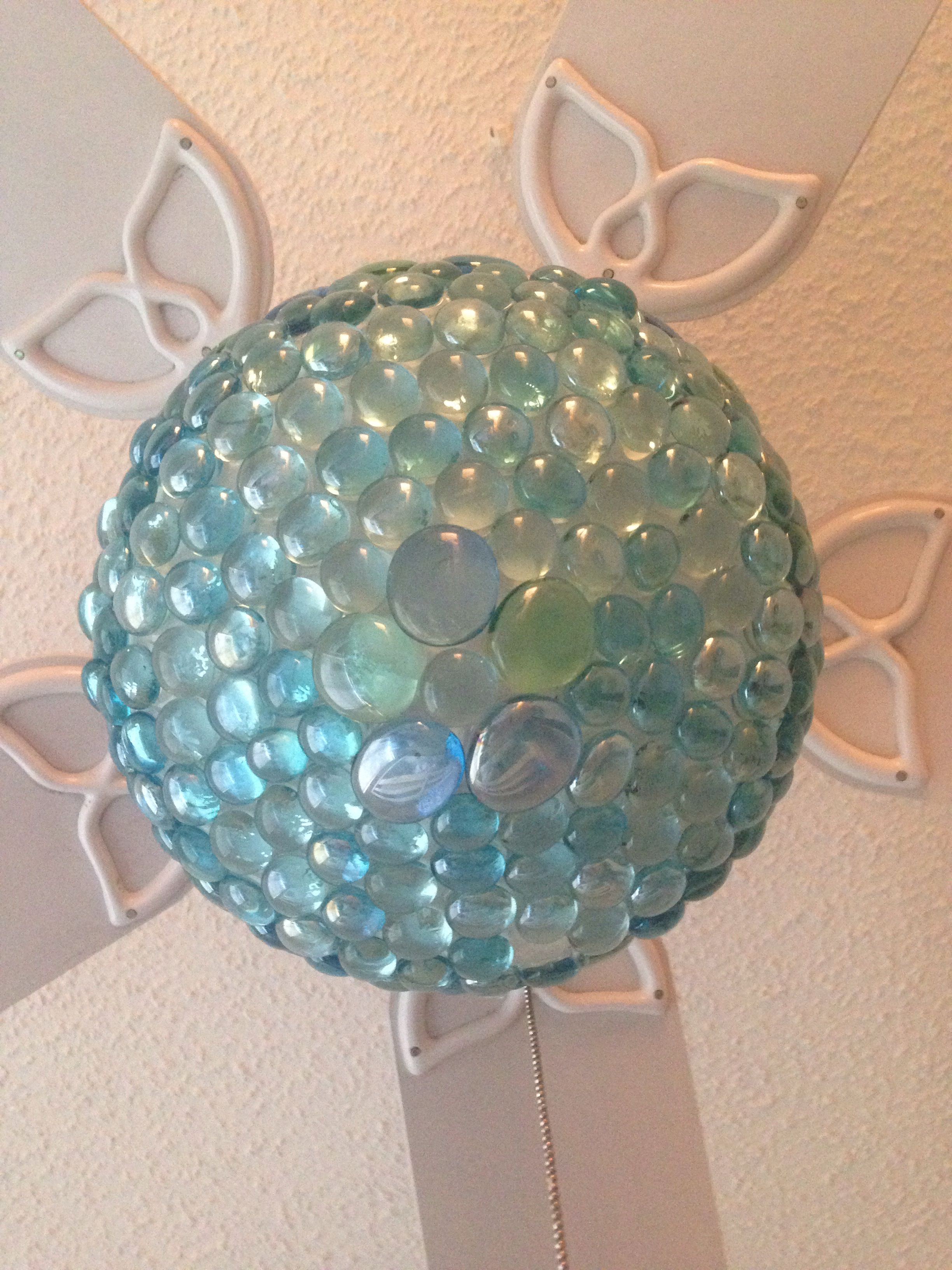 Turquoise   aqua ceiling fan light globe AFTER DIY makeover with     Turquoise   aqua ceiling fan light globe AFTER DIY makeover with aqua glass  pebbles from the Dollar Tree  I did this for my daughter s room