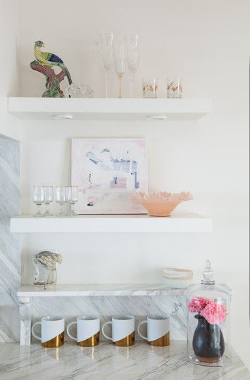 christine-dovey-pine-styling-8-kitchen-shelves-brass-mugs-flowers-artwork-ruffled-bowl-ceramic-bird-glassware