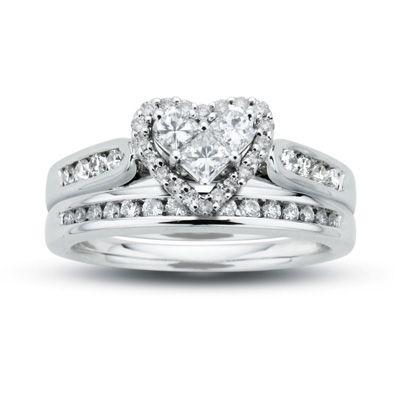 T W Diamond Heart Bridal Set In 14k White Gold Zales