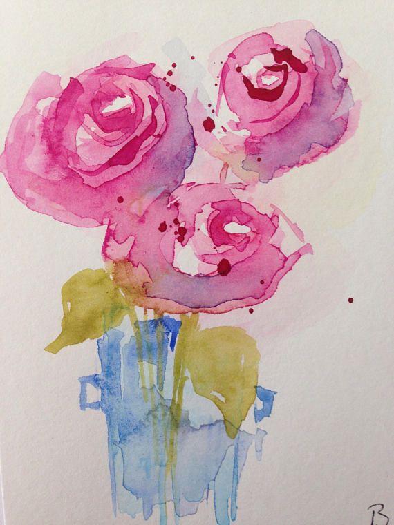 Original Aquarell Aquarellpostkarte Bild Kunst Rose Blumen Flowers