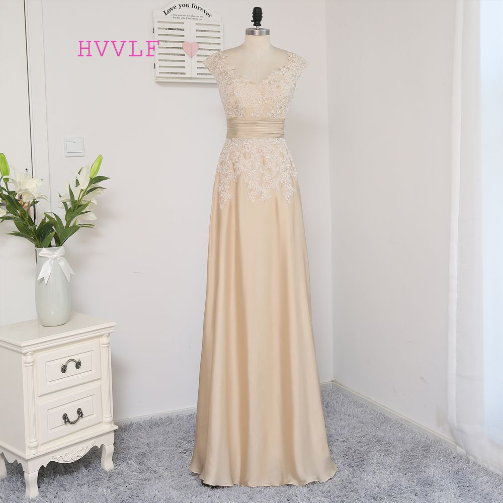 Hvvlf champagne evening dresses aline cap sleeves chiffon