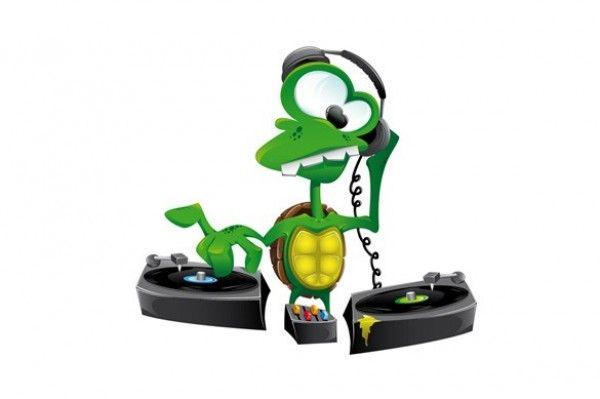 Cartoon DJ Turtle Mixing Music Vector Graphic - http://www.dawnbrushes.com/cartoon-dj-turtle-mixing-music-vector-graphic/
