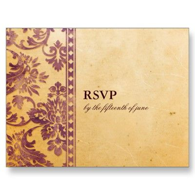 Vintage Lilac Damask Lace Wedding RSVP Post Card by foreverwedding