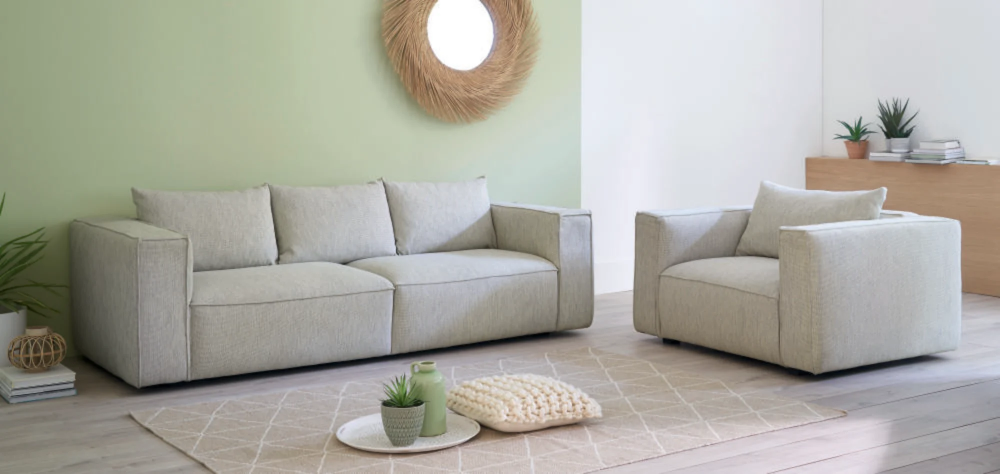 Canape 3 Places Eco Concu Gris Clair Chine In 2020 3 Seater Sofa Home Sofa