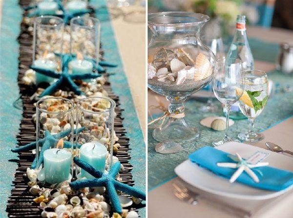 Des id es de chemins de table mariage place setting and tablescapes - Decoration table mer ...
