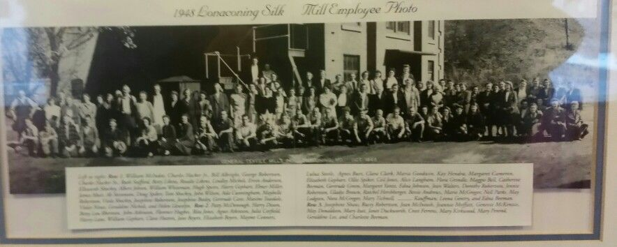 These are the employees of the silk mill in the 1940's