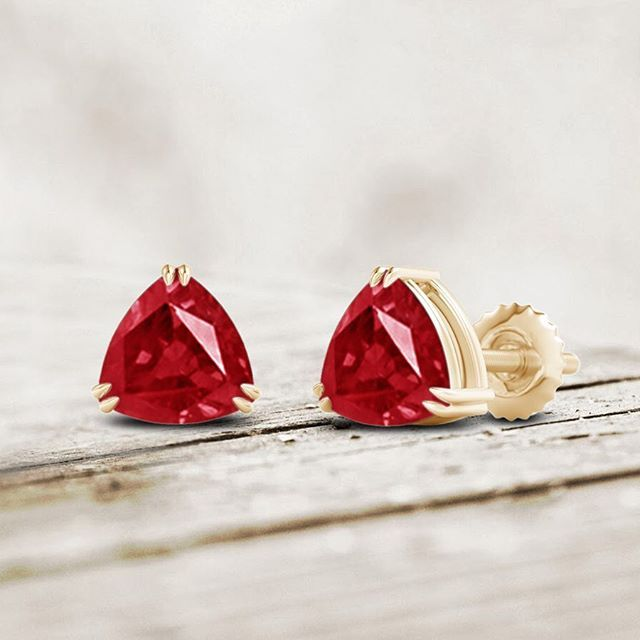 Angara Double Claw-Set Trillion Ruby Stud Earrings in Yellow Gold vg2Lgc