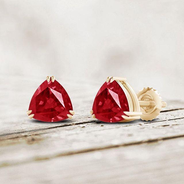 Angara Trillion Ruby Stud Earrings in White Gold J7ZNb6f