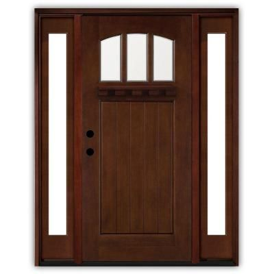 Steves Sons 64 In X 80 In Craftsman 3 Lite Arch Stained Mahogany Wood Prehung Front Door With Sidelites M4151 6011 12 4rh The Home Depot Wood Entry Doors Entry Doors Craftsman Front Doors
