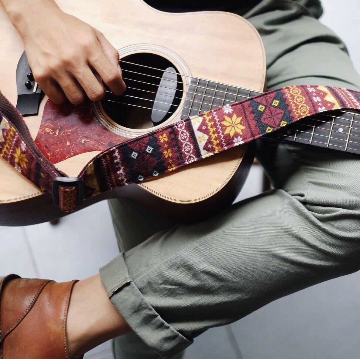 Red Himalaya O Guitar Strap Etsy Guitar Strap Acoustic Guitar Guitar