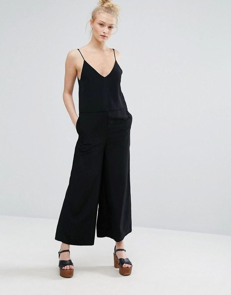 Monki Black Wide Leg Jumpsuit Size Uk12 M Fashion Clothing Shoes