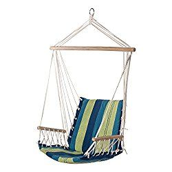 Prime Garden Hanging Rope Chair Cotton Padded Swing Chair Hammock Seat For Indoor Or Outdoor Spaces Blue Green Stripe Swinging Chair Hammock Seat Hanging Rope Chair