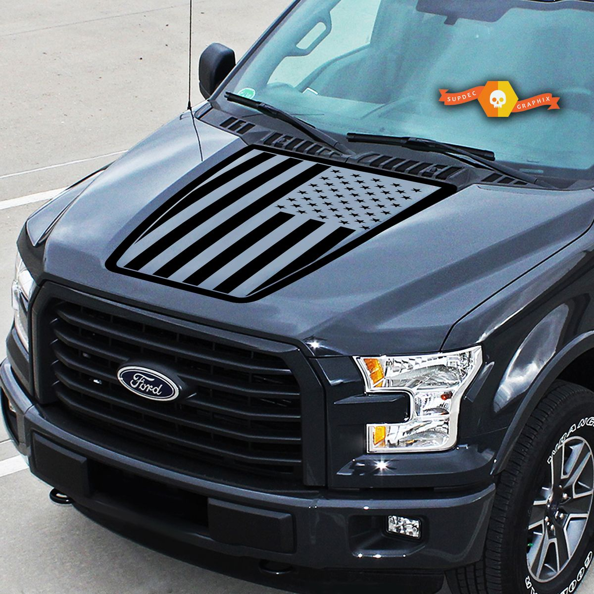 Hood Ford F 150 Usa Flag Center Graphics Vinyl Decals Truck Stickers 2015 2020 In 2020 Truck Stickers Ford F150 Vinyl Decals