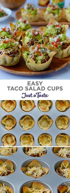 Easy Taco Salad Cups are the perfect party food! They're finger-friendly, can be made a day in advance, and star your favorite taco fillings. justataste.com #recipes #partyfood #food #tacosalad #muffintinrecipes #appetizers #justatasterecipes #fingerfoodpartyappetizers