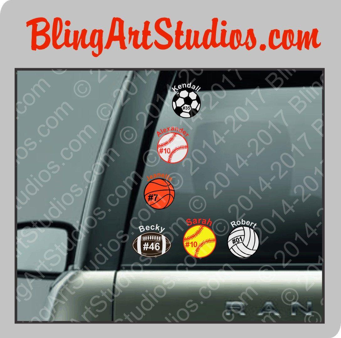 Custom Baseball Softball Football Basketball Volleyball Soccer Etsy Sports Decals Personalized Baseballs Car Decals [ 1077 x 1088 Pixel ]