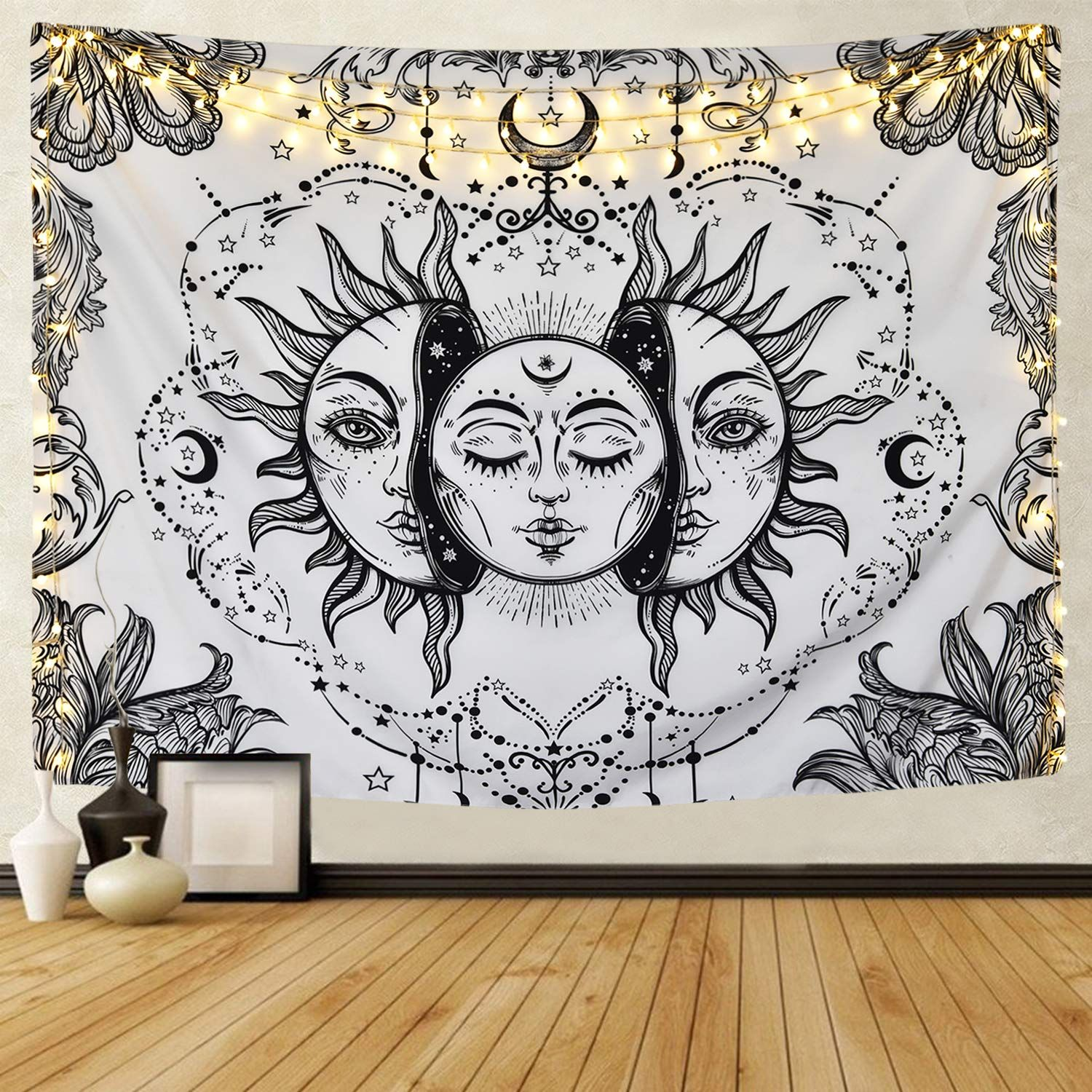 White Moon Tapestry Sun And Moon Tapestry Moon Tapestry Mandala Tapestries Wall Hangings