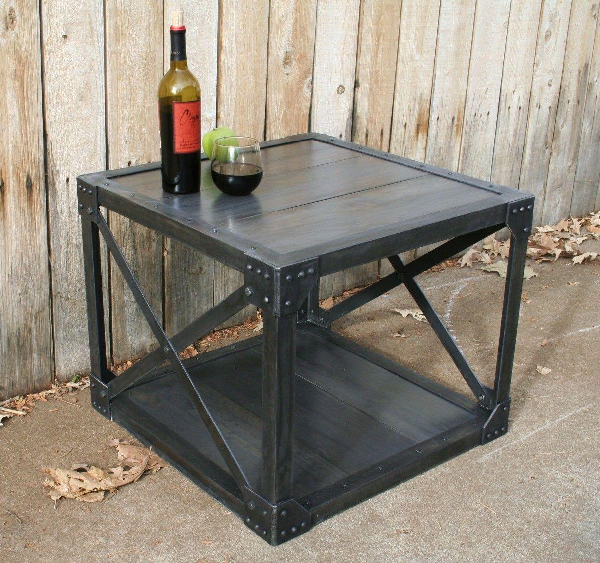 handmade wood scrap metal industrial coffee table urban on stunning wooden metal coffee table id=83514