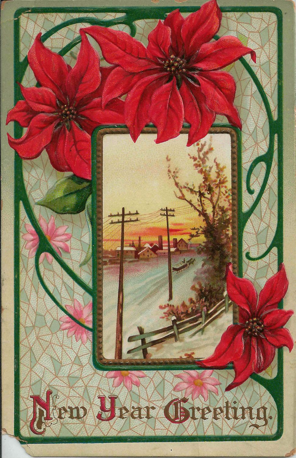 1911 New Year Greeting Postcard Featuring Lovely Red Poinsettias And