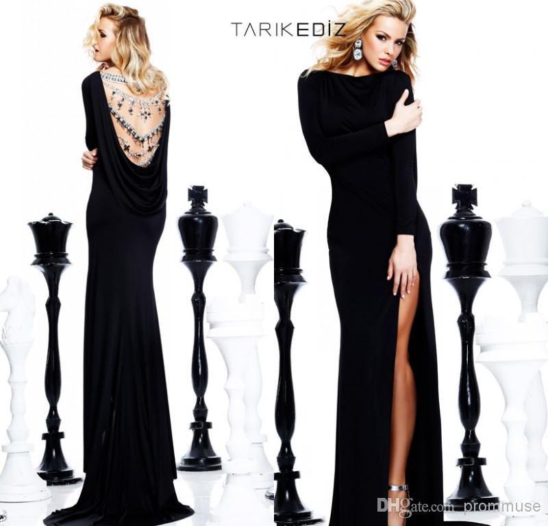 Discount Tarikediz Black Sheath Long Sleeve Sheer Neck ...