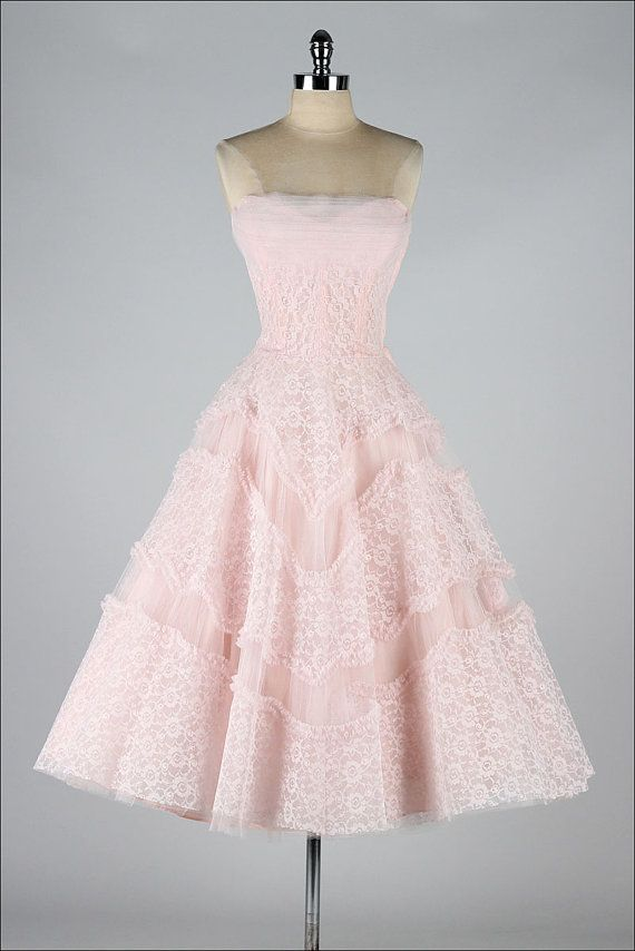 f76b725f9aa1 vintage 1950s dress . EMMA DOMB . pink lace and tulle . 3712 ...