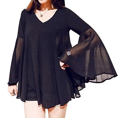 Women's+Casual/Daily+Plus+Size+Summer+Blouse,Solid+V+Neck+Long+Sleeve+Black+Polyester+Thin+–+USD+$+9.99