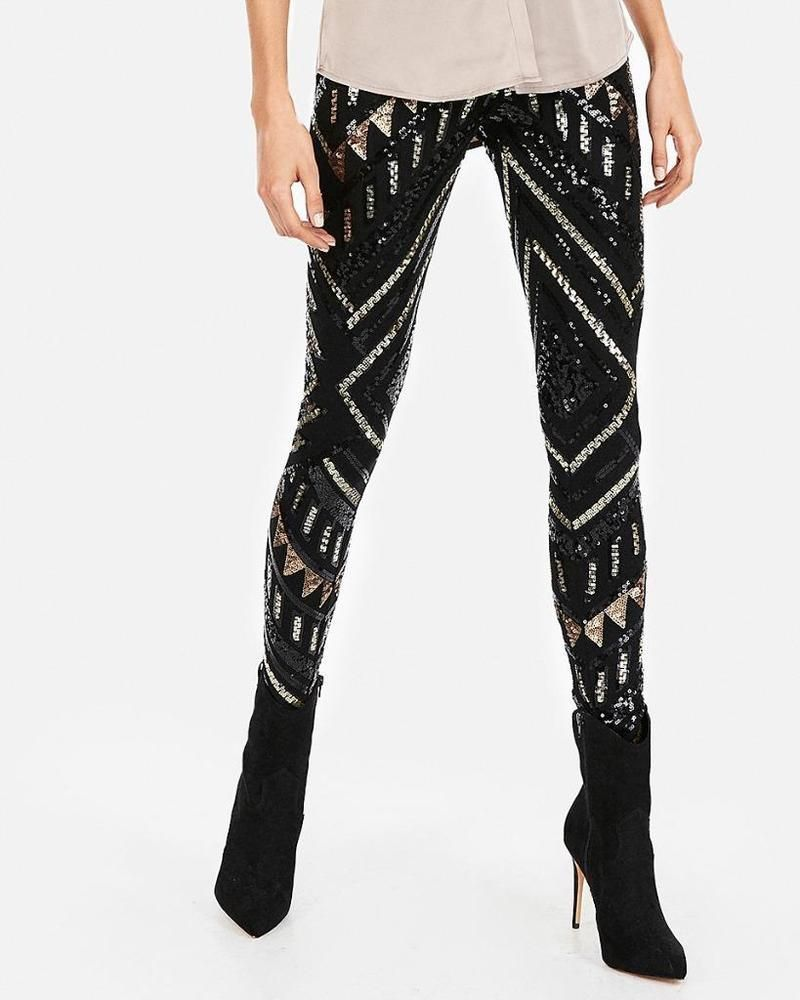 best authentic discount collection hot-selling cheap nwt express allover sequin high rise legging pants m medium ...