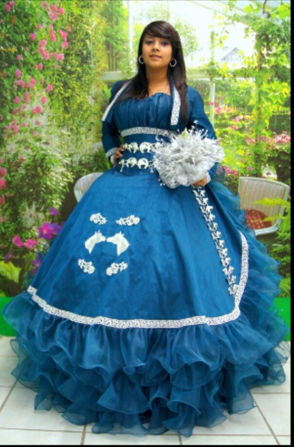 Royal Blue Mariachi Quincenera Gown Quince Quinceanera