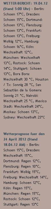 WETTER-BERICHT: 19.04.12 (Stand 5:00 Uhr) - http://www.schoeneswetter.com/wetterwuensche/wetter-2012/april-2012/wetter-19-april-2012.php