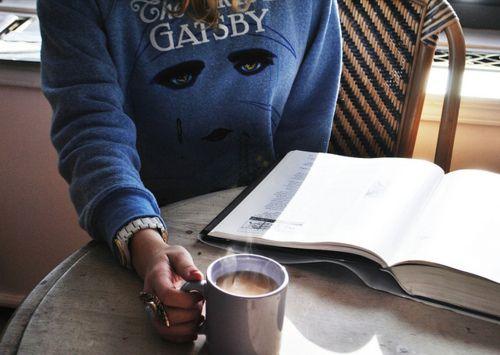 Gatsby sweatshirt + coffee + book = a bookworm's dream!  #lounging #relaxed #comfy #cozy #loungewear #sweats