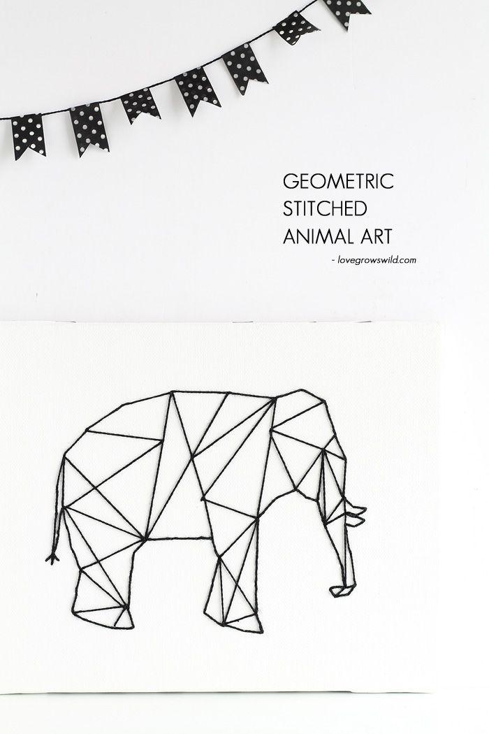 Geometric stitched animal art basteln basteln kunst und projekte - Geometrische wandbilder ...