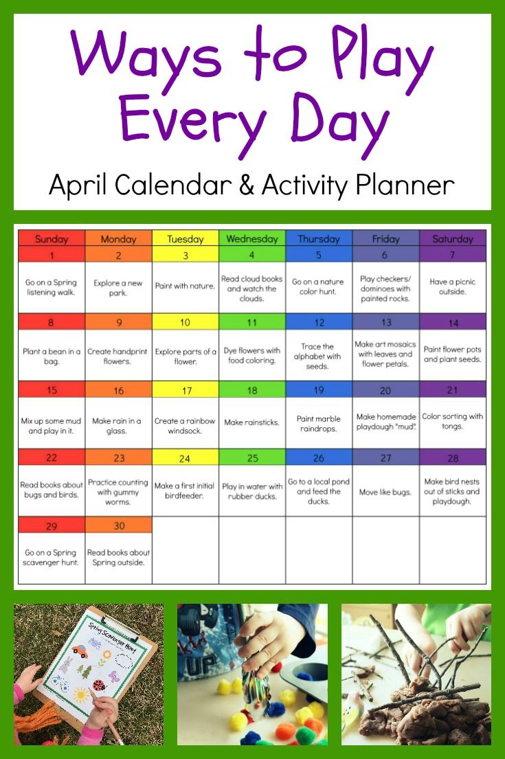 Ways to Play Every Day-April Activity Calendar for # ...