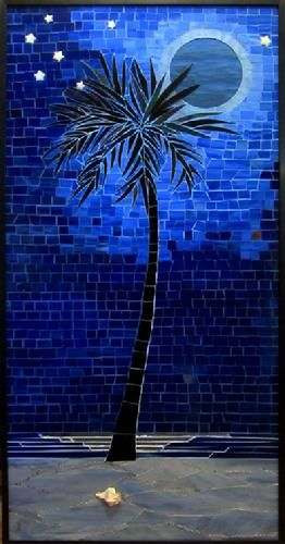 Mosaic Moon Blue Beach Sand Palm Tree Night Stained Gl Stars Moonlight