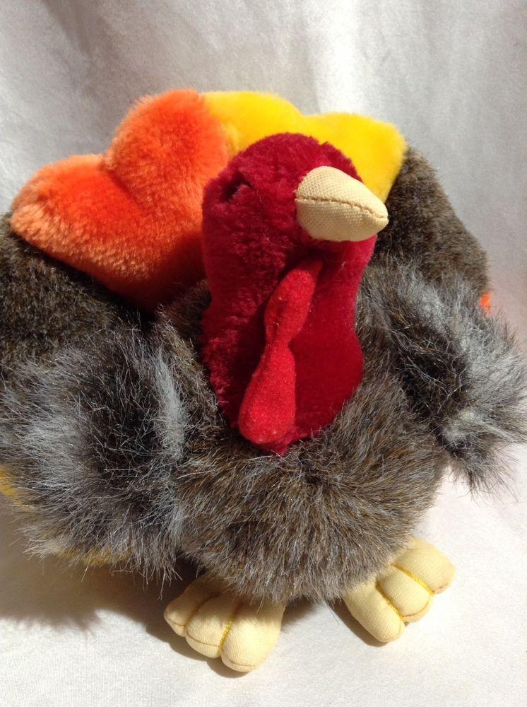 A A Plush Turkey Thanksgiving Stuffed Turkey Animal Bird Furry Soft