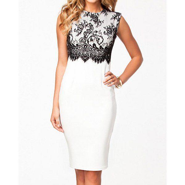 b500da61f Vestido blanco con encaje negro. Vestido blanco con encaje negro Colección  De Vestidos