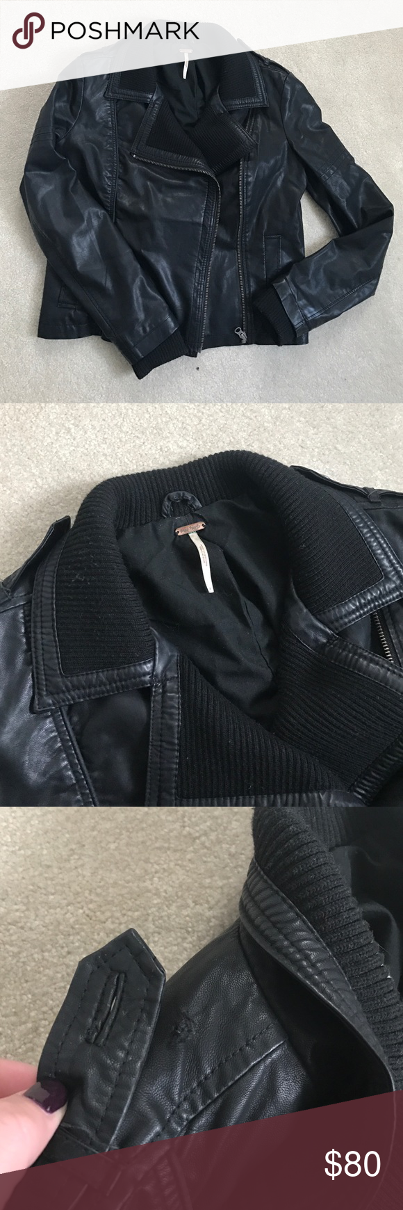 FREE PEOPLE Leather Jacket FREE PEOPLE black vegan leather jacket, size 4, amazing condition, button missing on shoulder as pictured Free People Jackets & Coats